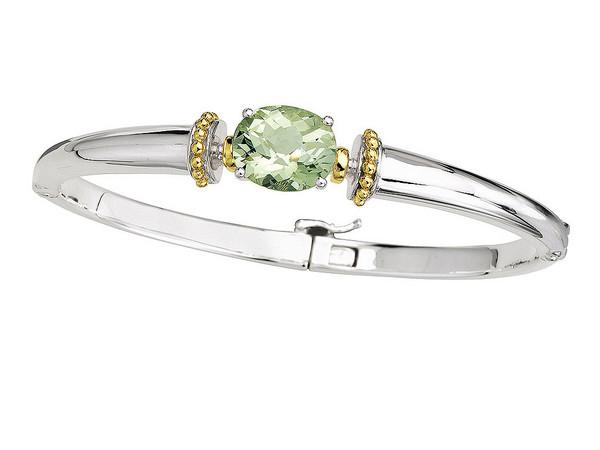 Green Amethyst Bangle Bracelet