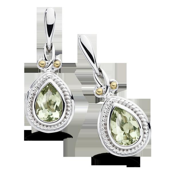 Green Amethyst Earrings in 18k Gold & Sterling Silver