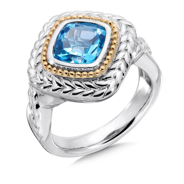 Shop By Designer Gt Lorenzo Gt Blue Topaz Ring In 18k Gold Amp Sterling Silver
