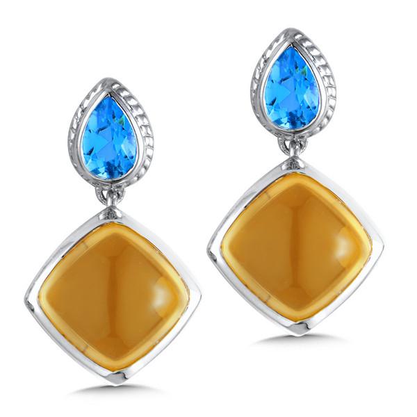 Blue Topaz & Citrine Earrings in Sterling Silver