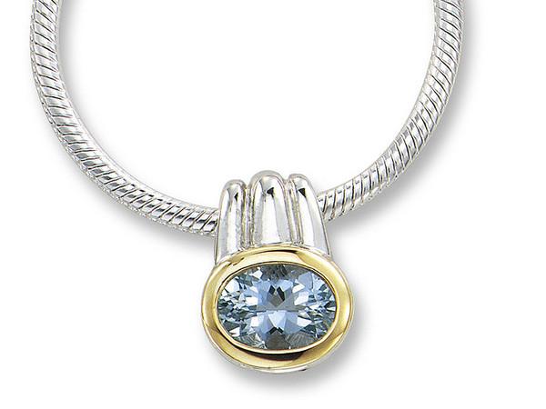 Aquamarine Pendant in 18k Gold & Sterling Silver