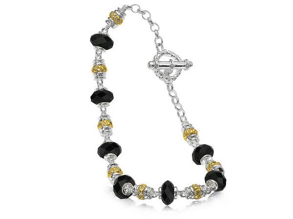 Onyx Bracelet in 18k Gold & Sterling Silver
