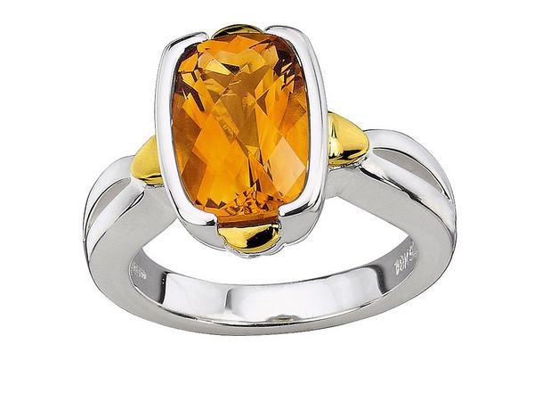 Citrine Ring in 18k Gold & Sterling Silver