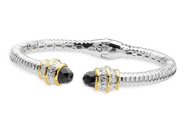 Onyx Bracelet In 18k Gold Sterling Silver