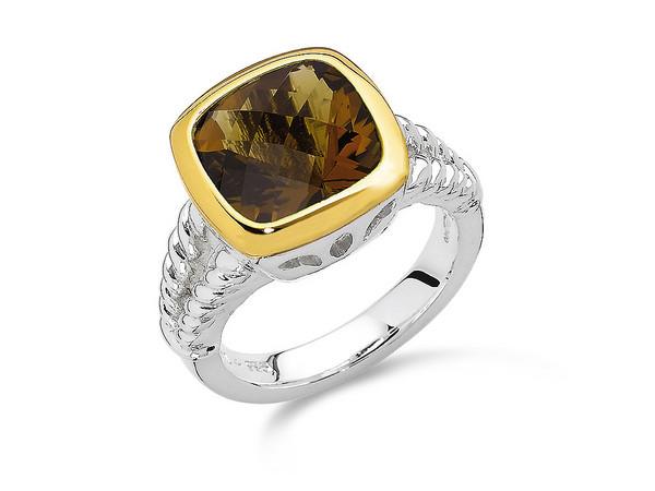 Honey Citrine Ring in 18k Gold & Sterling Silver