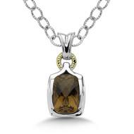 Honey Citrine Pendant in 18k & Sterling Silver