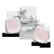 Rose Quartz Earrings in Sterling Silver
