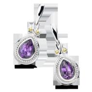 Amethyst Earrings in 18k Gold & Sterling Silver