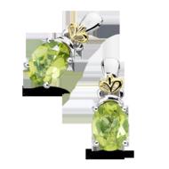 Peridot Earrings in 18k Gold & Sterling Silver