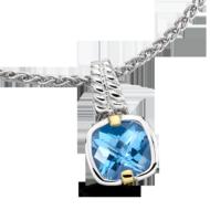 Blue Topaz Pendant in 18k Gold & Sterling Silver