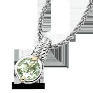 Green Amethyst Pendant in 18k Gold & Sterling Silver
