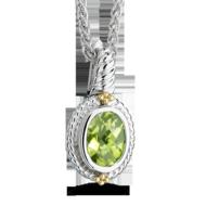 Peridot Pendant in 18k Gold & Sterling Silver