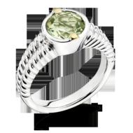 Green Amethyst Ring in 18k Gold & Sterling Silver