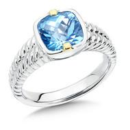 Blue Topaz in 18k Gold & Sterling Silver
