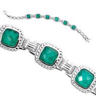 Green Agate Bracelet in Sterling Silver