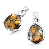 Honey Citrine Earrings in Sterling Silver