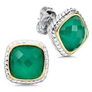 Green Agate Earrings in 18k Gold & Sterling Silver