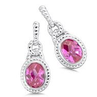 Pink Sapphire Earrings in Sterling Silver