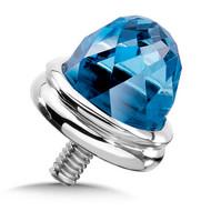 Large Blue Topaz Single Bracelet Cap