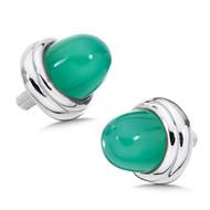 Large Green Agate Bracelet Caps