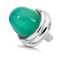 Large Green Agate Bracelet Cap