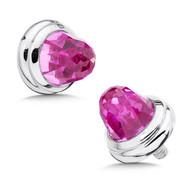 Large Pink Sapphire Bracelet Caps