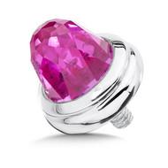 Large Pink Sapphire Single  Bracelet Cap