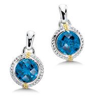 London Blue Topaz Earrings in 18k Gold & Sterling Silver