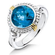 London Blue Topaz Ring in 18k Gold & Sterling Silver