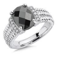 Hematite - Diamond Ring in Sterling Silver