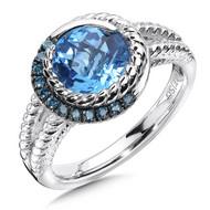 Blue Topaz & Blue Diamond Ring in Sterling Silver