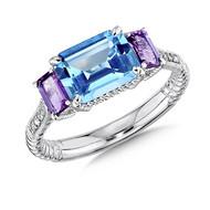 Blue Topaz & Amethyst Diamond Ring in Sterling Silver