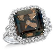 Smoky Quartz & Diamond Ring in Sterling Silver