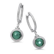 Green Agate Earrings in Sterling Silver