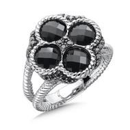 Onyx & Black Diamond Ring in Sterling Silver