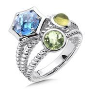 Blue Topaz & Green Olive Quartz Ring