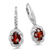 Garnet Earrings & Sterling Silver