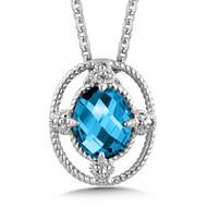 London Blue Topaz Pendant in Sterling Silver