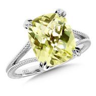 Green Gold Lemon Quartz Ring in Sterling Silver