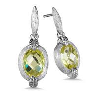 Green Gold Lemon Quartz Earrings in Sterling Silver
