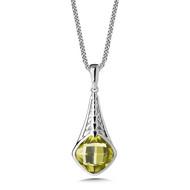 Green Gold Lemon Quartz Pendant in Sterling Silver