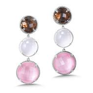 Quartz & Rose Shell & Smoky Quartz Earrings in Sterling Silver