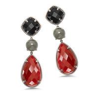 Black Spinel & Gray Moonstone & Ruby Corundum Earrings in Sterling Silver