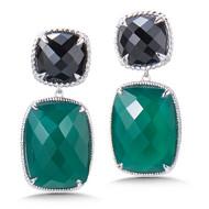 Black Spinel & Green Onyx Gemstone Earrings in Sterling Silver