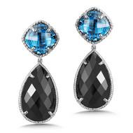 London Blue Topaz & Black Spinel Earrings in Sterling Silver