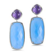 Amethyst & Blue Chalcedony Earrings in Sterling Silver