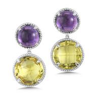 Amethyst & Lemon Quartz Earrings in Sterling Silver
