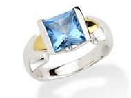 Blue Topaz Ring in 18k Gold & Sterling Silver