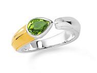 Peridot Ring in 18k Gold & Sterling Silver
