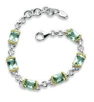 Green Amethyst Bracelet in 18k Gold & Sterling Silver